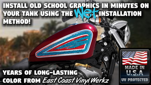 Old School -  white blue red- 2 pc - Sportster tank panels