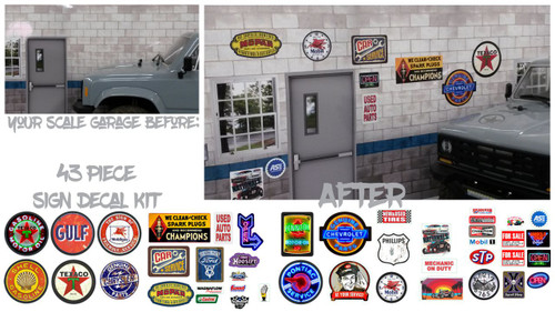 1/10 Scale RC - Scale garage sign set - 43 piece set