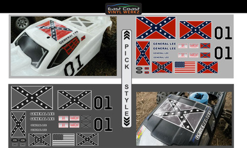 General Lee - 1/10  1/8 Scale decal sets - Choose Style
