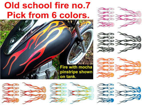shown on tank & fender.  Fire with mocha pinstripe. Choose from 6 colors.  Set is 7 piece.