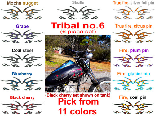 Tribals no.6  motorcycle flame decals -6 pc. set - Pick Color