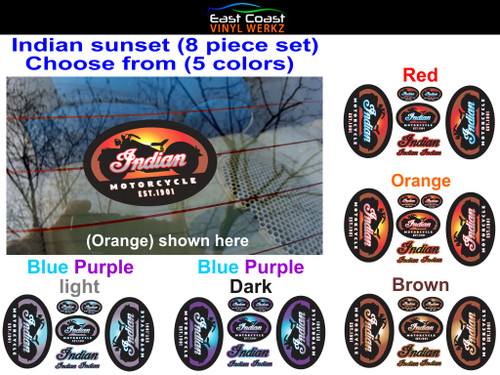 Indian sunset decals (8 piece set) Choose from 5 colors