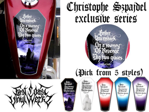 Choose from 5 styles 1 piece tank top reaper decal shown on tank with close up