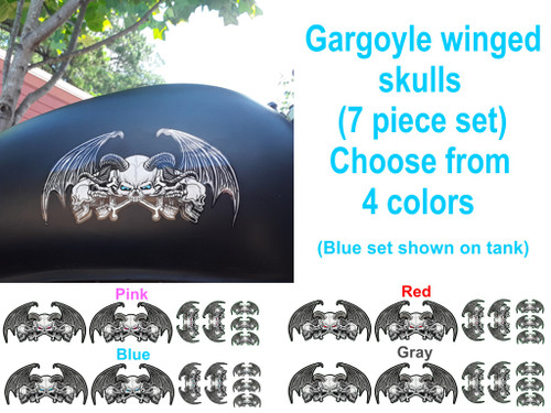 Gargoyle winged skulls  7 piece set pick from 4 colors (Blue set shown on tank)