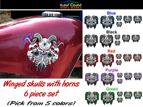 """6 piece set pick from 5 colors  The large  5"""" x 4 3/4"""" piece is shown on a 2.2 gal sportster tank"""