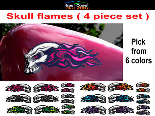 "4 piece set pick from 6 colors  The large  6 1/2"" x 3"" piece (Pink) shown on a 2.2 gal sportster tank"