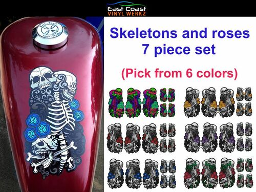 "Skeletons and roses 7 piece set The large 4 1/4"" x 7 3/4"" piece shown on 2.2 gal sportster tank  (Pick from 6 colors)"