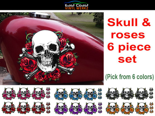 """skull and roses 6 piece set pick from 6 colors The large  6 3/4"""" x 6"""" piece shown on a 2.2 gal sportster tank"""