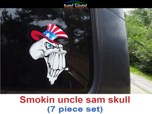"Smokin' uncle sam skull. 7 piece set  The large 5"" x 6"" piece shown on truck window"