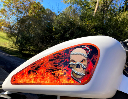 Shown on a 3.3 gal sportster tank