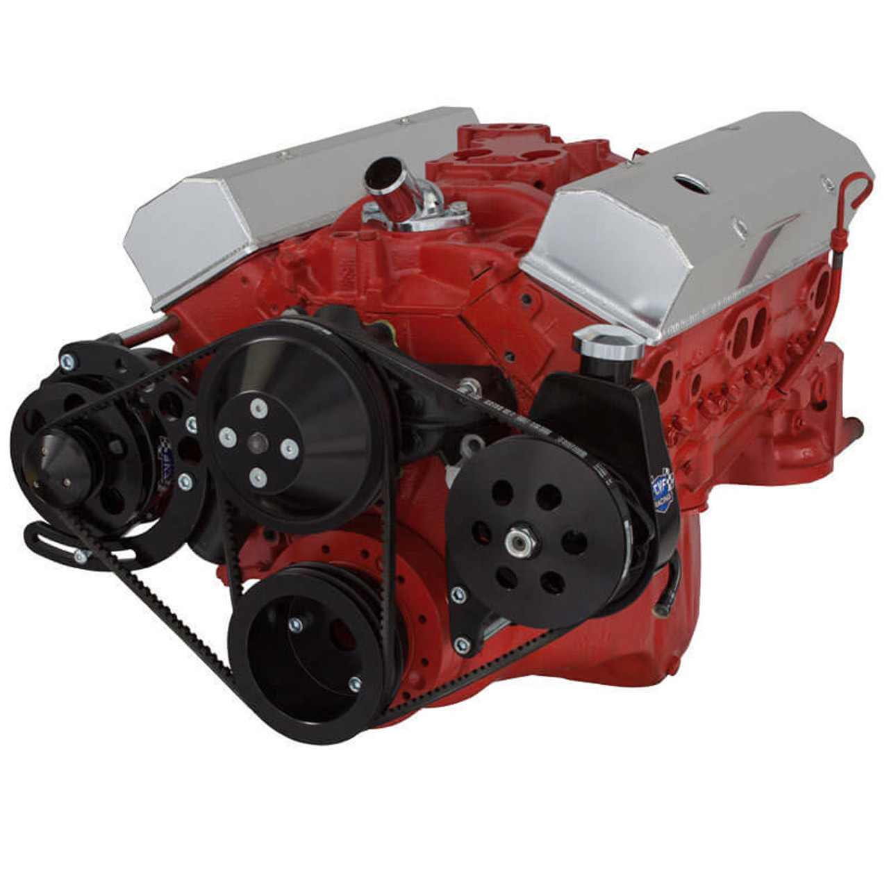 Black Chevy Small Block V-Belt System - Alternator & Power Steering, LWP