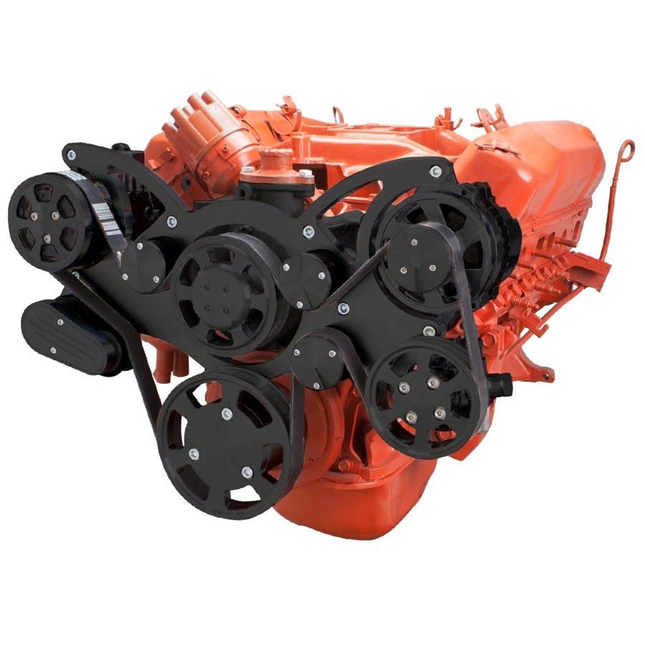 Stealth Black Serpentine System for Big Block Mopar - AC, Power Steering &  Alternator - All Inclusive