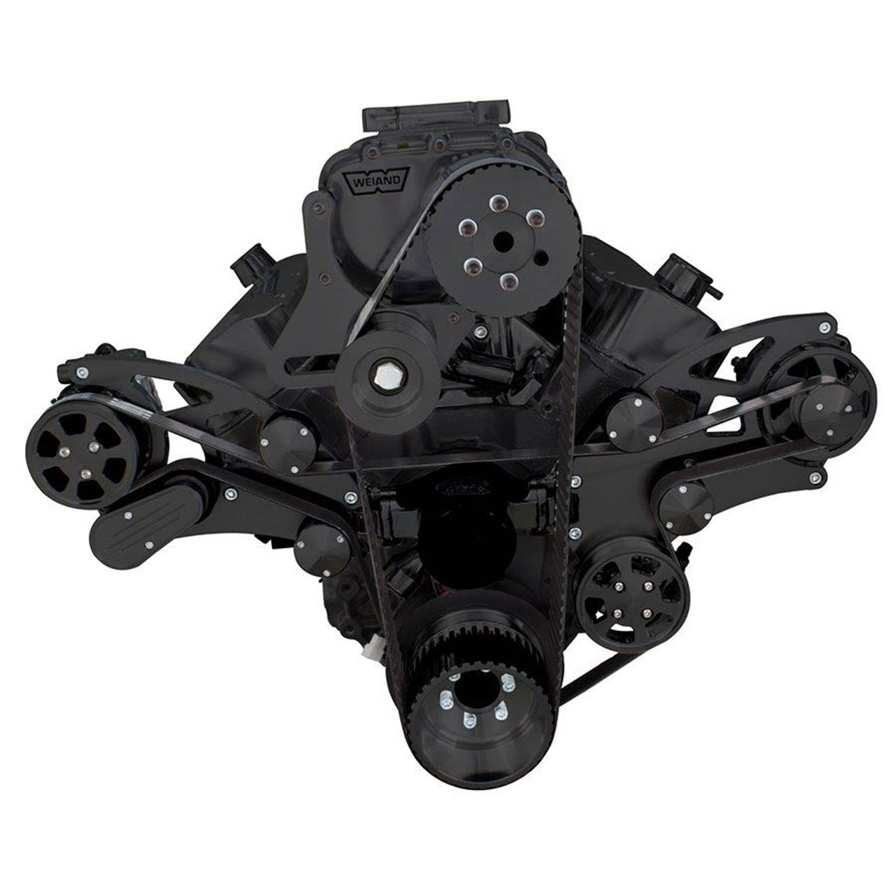 Stealth Black Serpentine System for 396, 427 & 454 Supercharger - Power  Steering & Alternator with Root Style Blower - All Inclusive