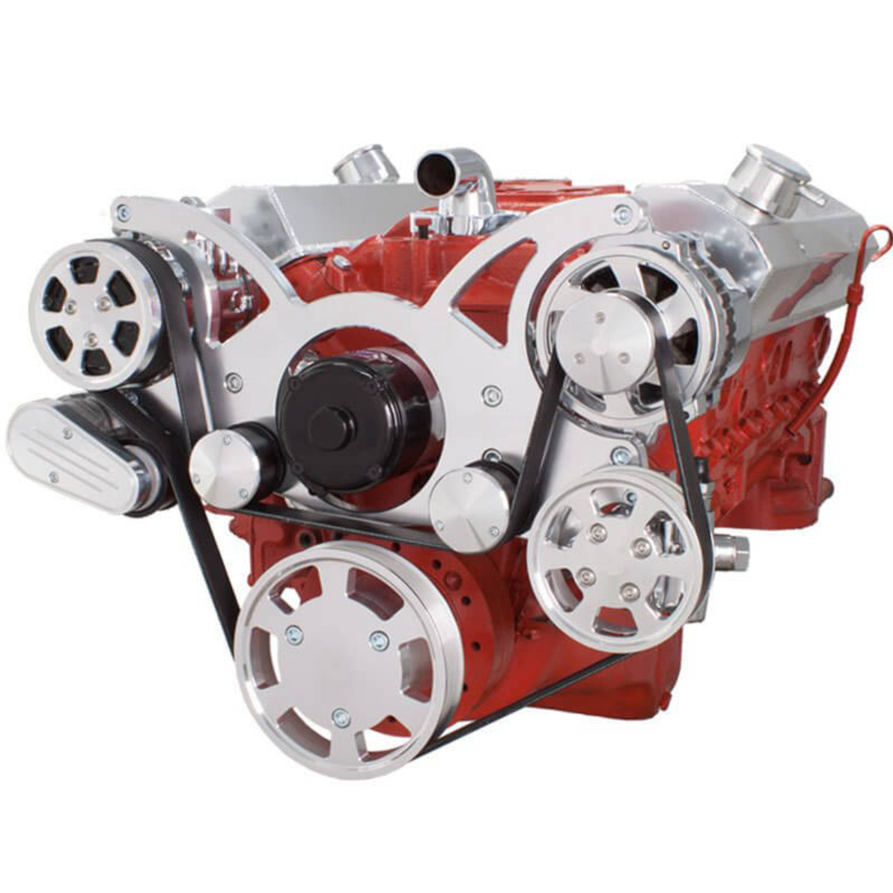 Serpentine System for SBC 283-350-400 - AC, Power Steering & Alternator  with Electric Water Pump - All Inclusive