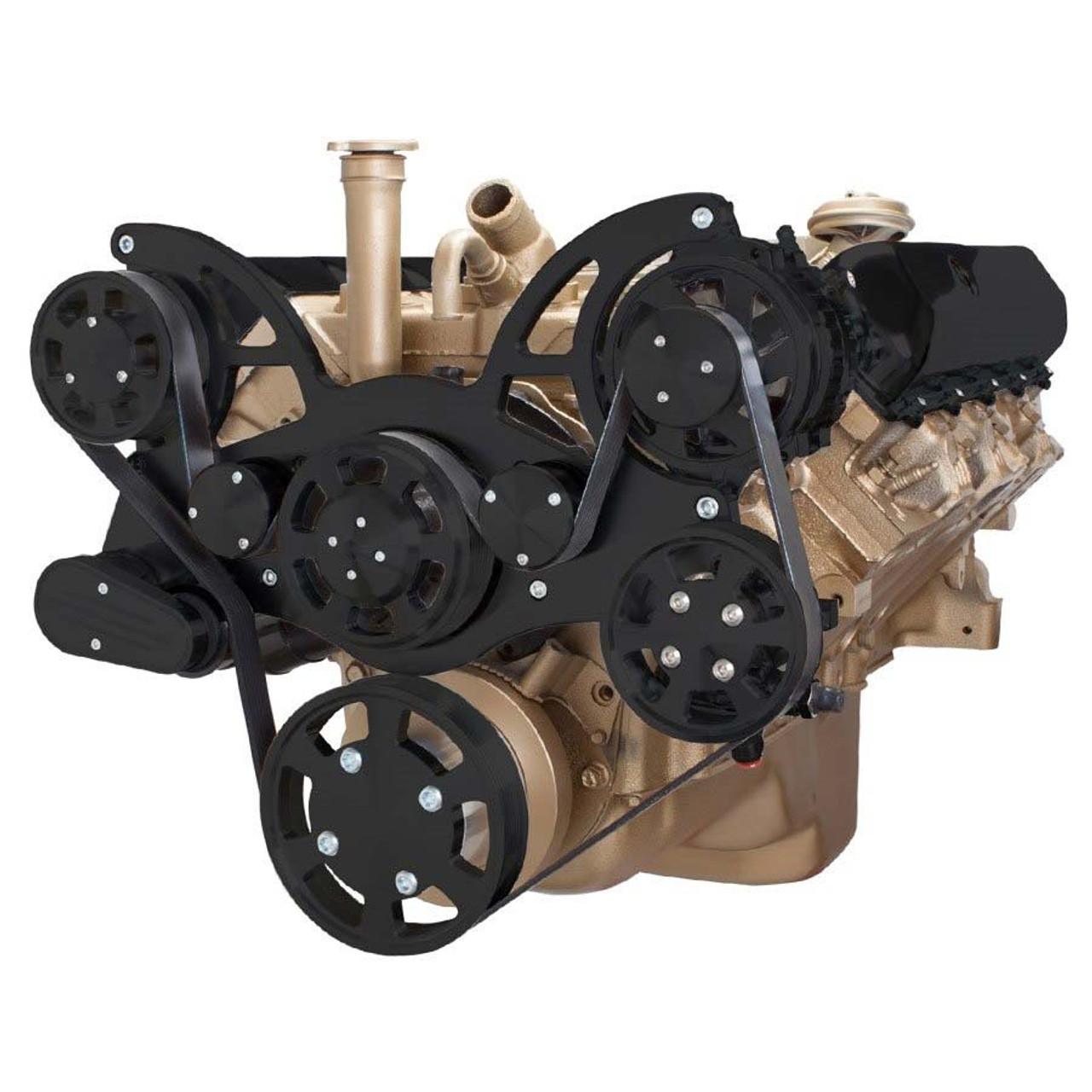 Stealth Black Serpentine System for Oldsmobile 350-455 - Power Steering &  Alternator - All Inclusive