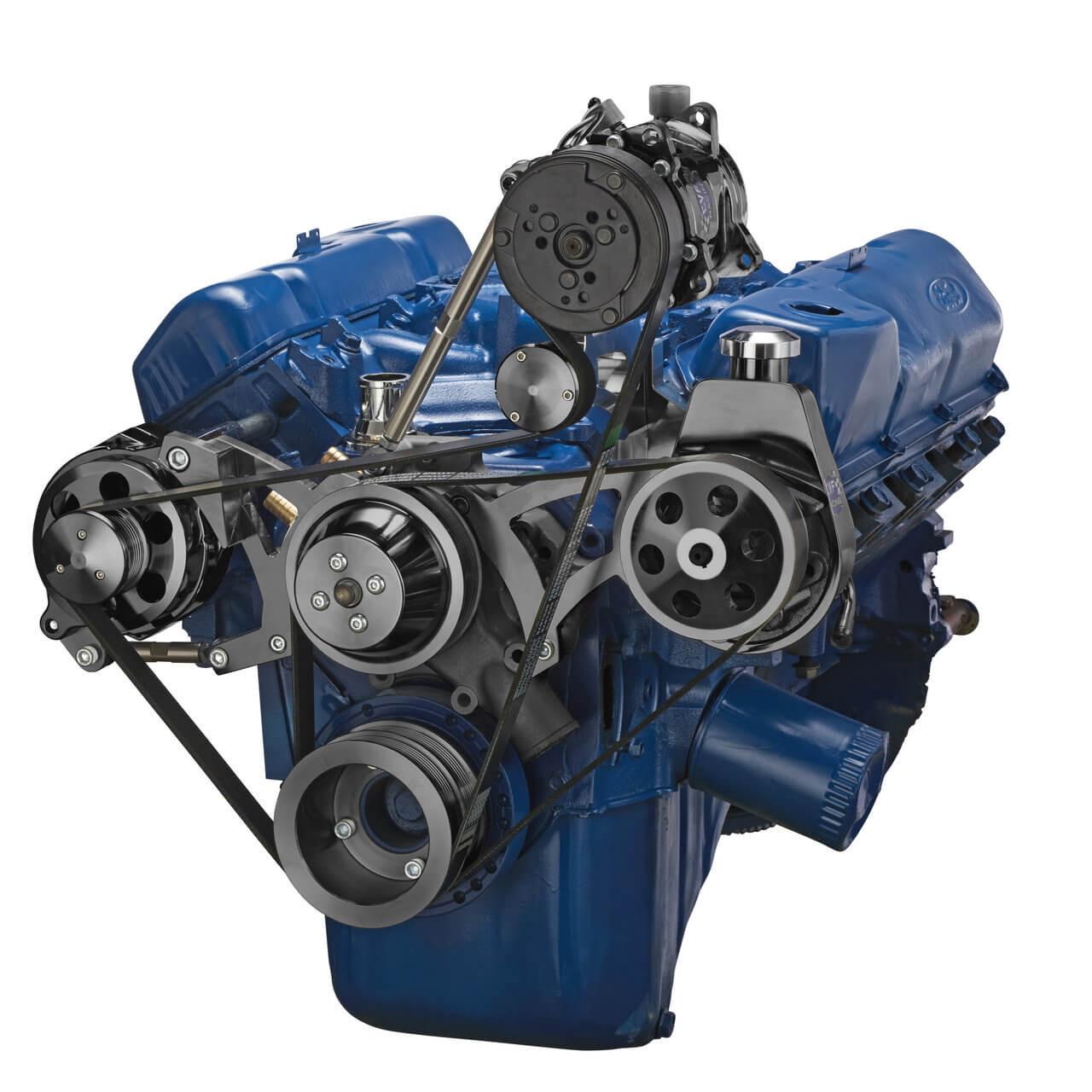 Black Ford Ac Power Steering Alternator Serpentine Kit
