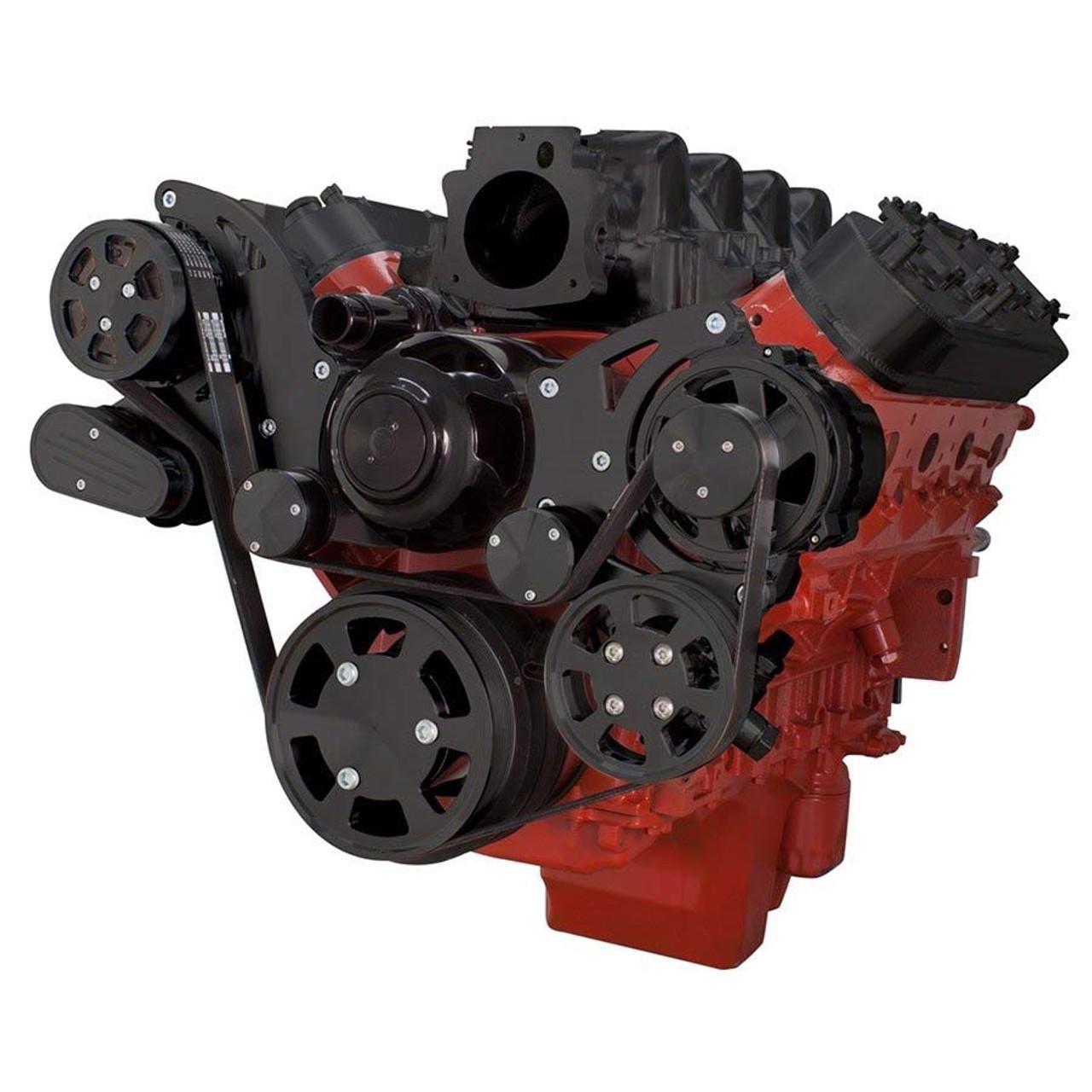 Stealth Black Chevy LS Engine High Mount Serpentine Kit - AC, Alternator &  Power Steering with Electric Water Pump
