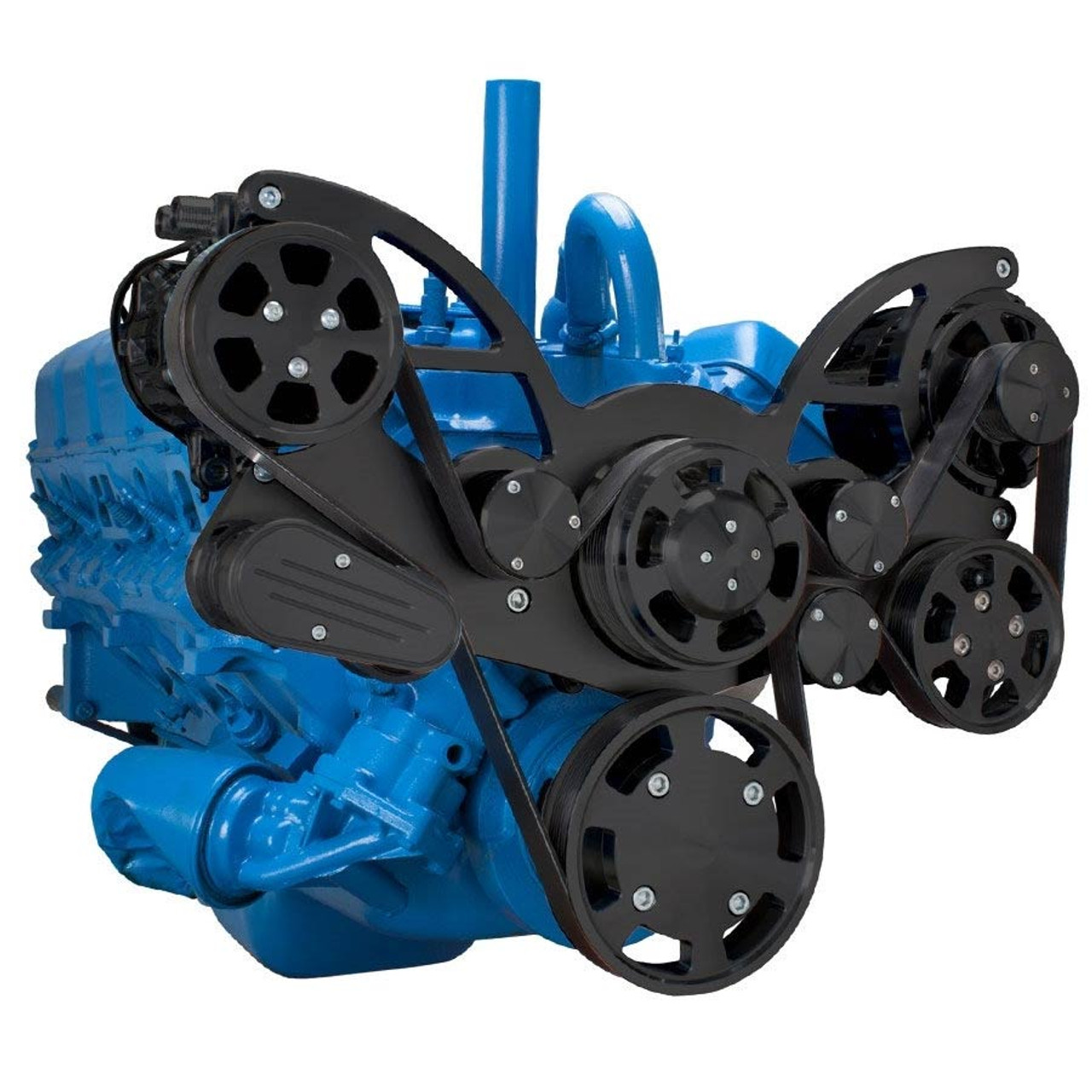Stealth Black Serpentine System for AMC Jeep 304, 360 & 401 - AC, Power  Steering & Alternator - All Inclusive