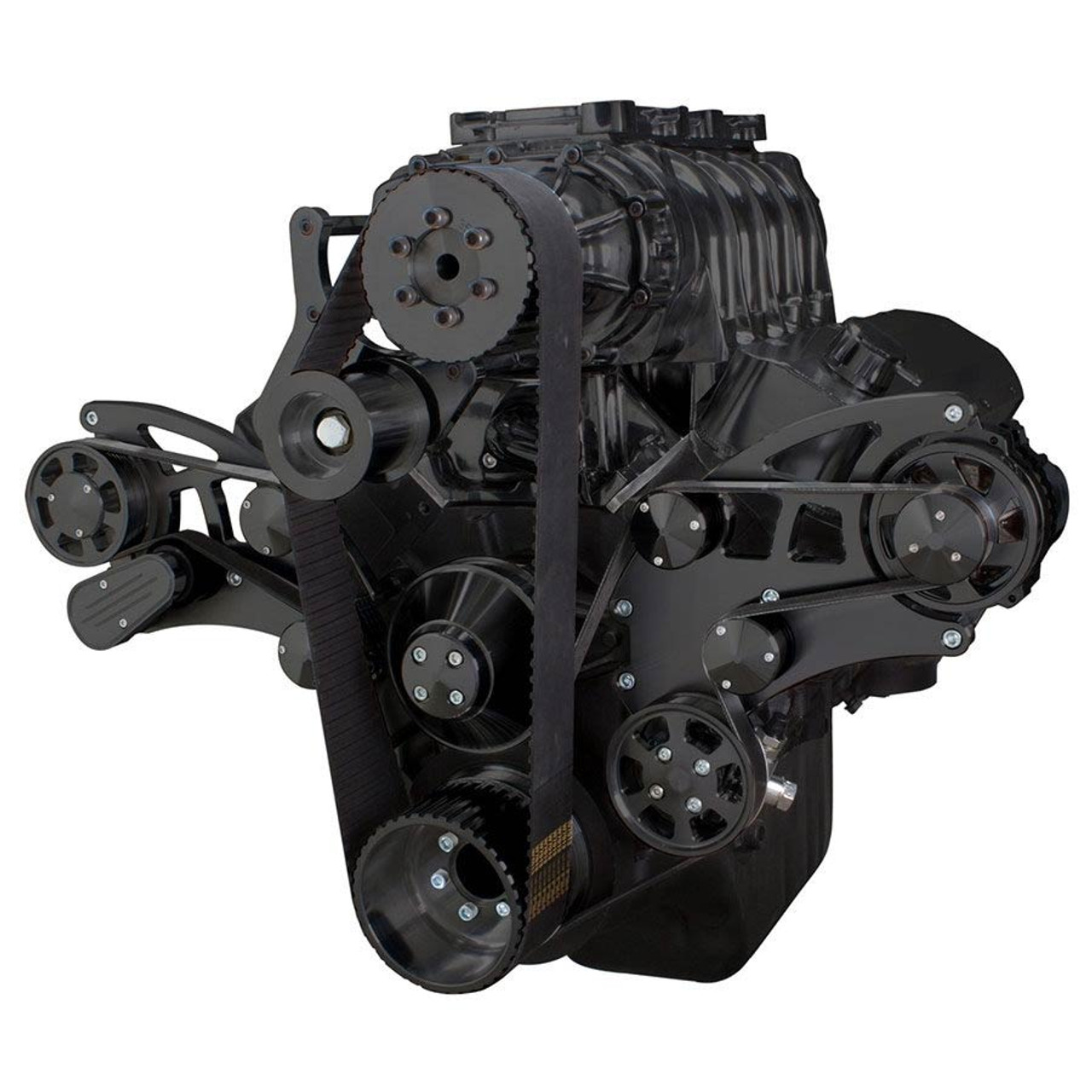 Black Serpentine System for 396, 427 & 454 Supercharger - Power Steering &  Alternator - All Inclusive