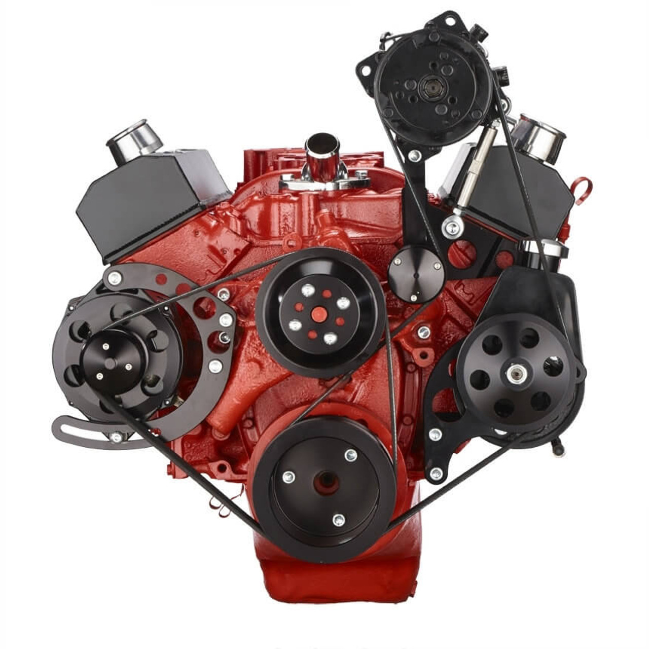 Black Chevy Small Block Serpentine Conversion - AC & Power Steering, Long  Water Pump