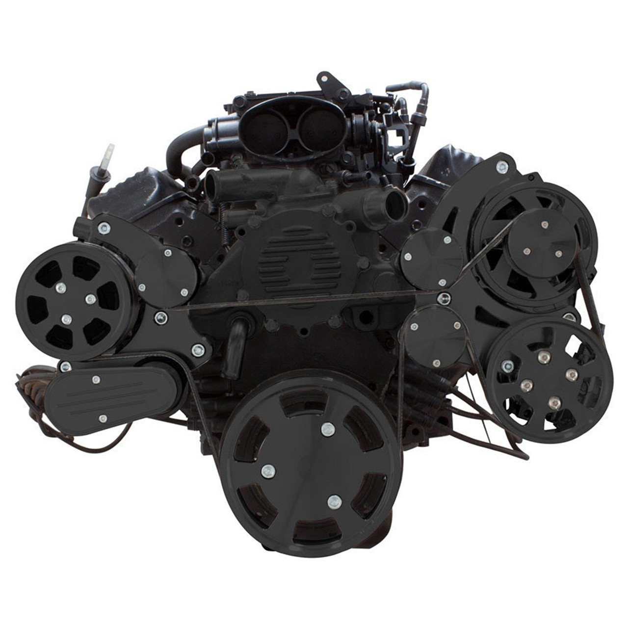 stealth black serpentine system for lt1 generation ii ac, power steering \u0026 alternator all inclusive Brackets Flower Diagram