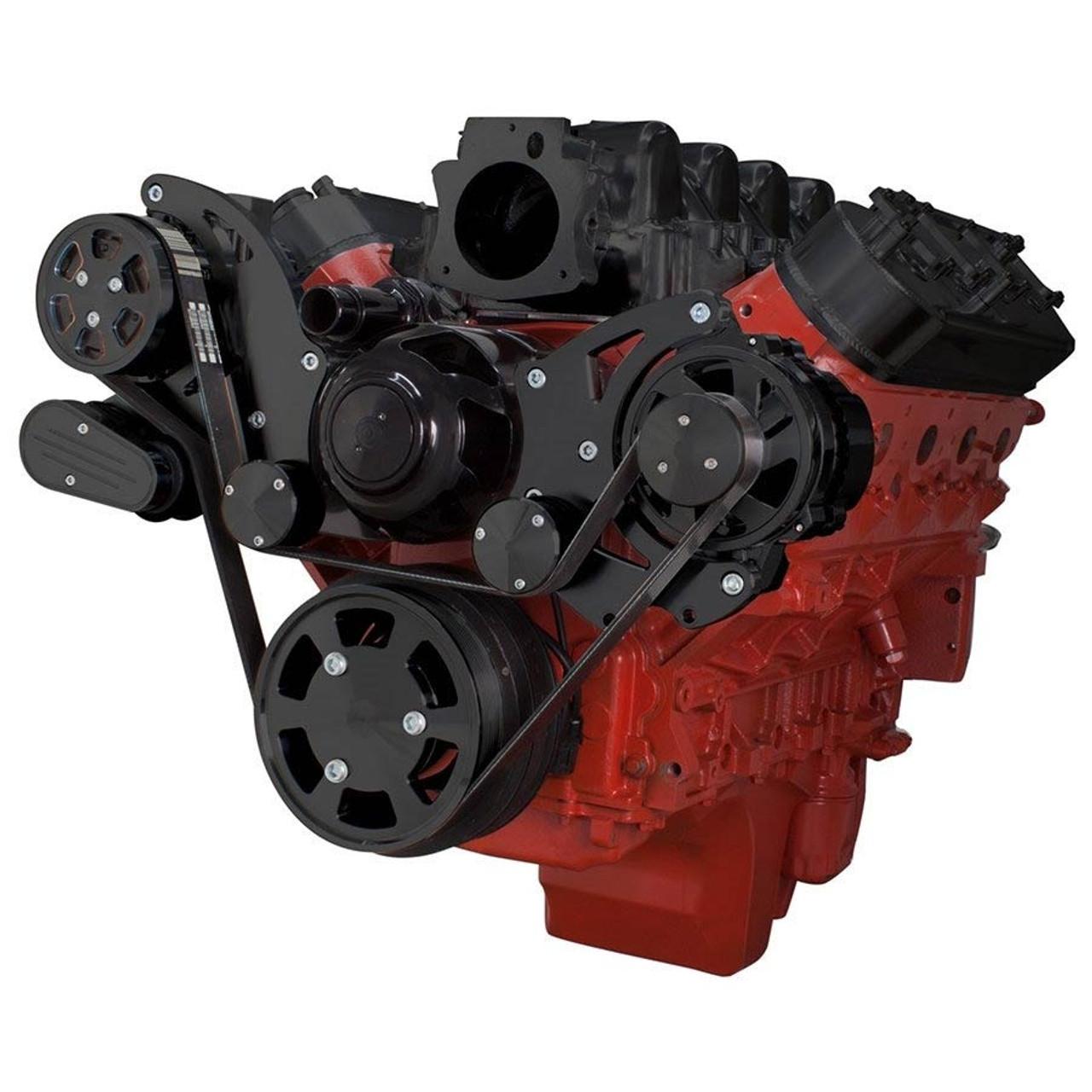 Stealth Black Chevy LS High Mount Serpentine Kit - AC & Power Steering,  Electric Water Pump