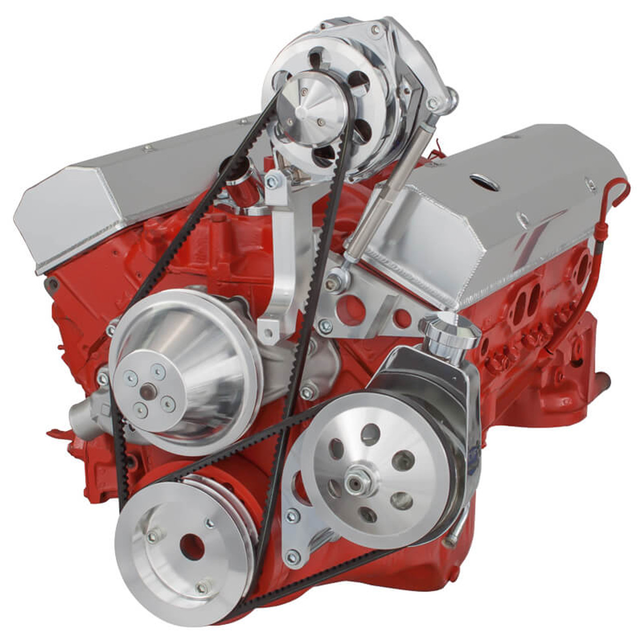 Chevy V-Belt Pulley & Bracket System: 302-305-350-400 SBCCVF Racing