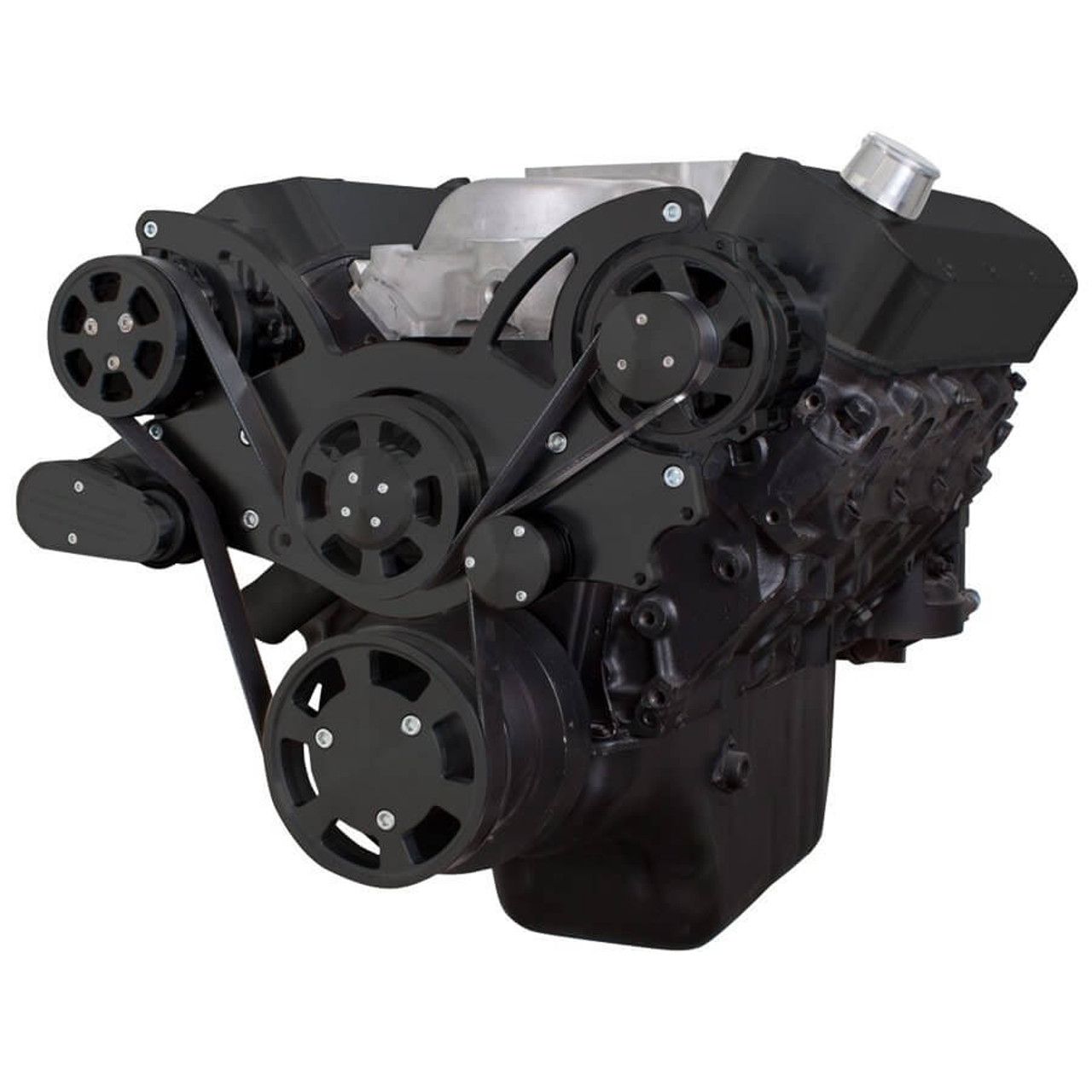 Black Serpentine System for Big Block Chevy Gen  VI & Alternator - All  Inclusive