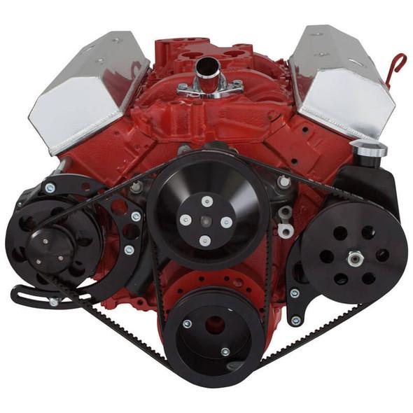 Black Chevy Small Block V-Belt System - Alternator & Power Steering