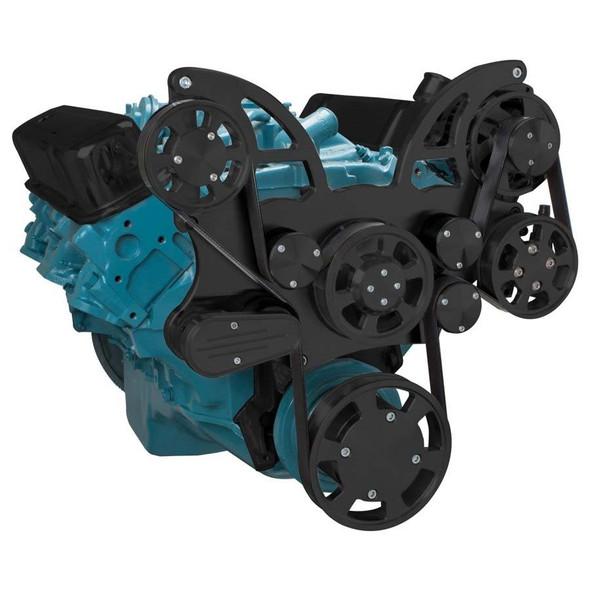 Stealth Black Pontiac Serpentine System for 350-400, 428 & 455 V8 - Power Steering