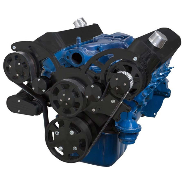 Stealth Black Wraptor Serpentine System for Ford Small Block - Alternator Only Configuration