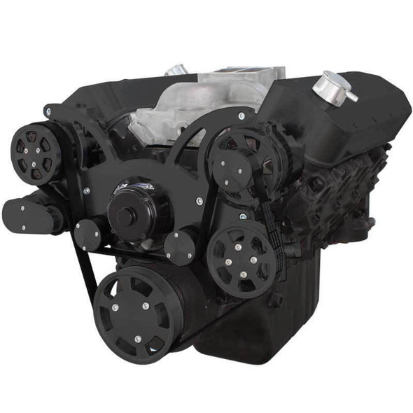 Black Serpentine System for Big Block Chevy - AC, Power Steering & Alternator with Electric Water Pump