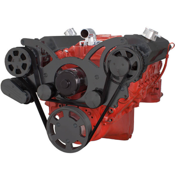 Black Serpentine System for SBC 283-350-400 - AC & Alternator with Electric Water Pump
