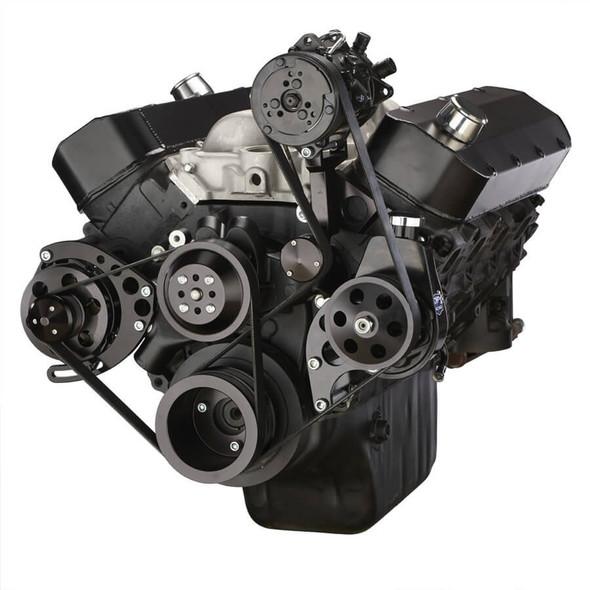 Black Chevy Big Block Serpentine Conversion Kit - AC, Alternator & Power Steering