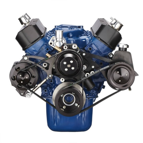 Black Ford 289-302-351W Serpentine Conversion Kit - Alternator & Power Steering