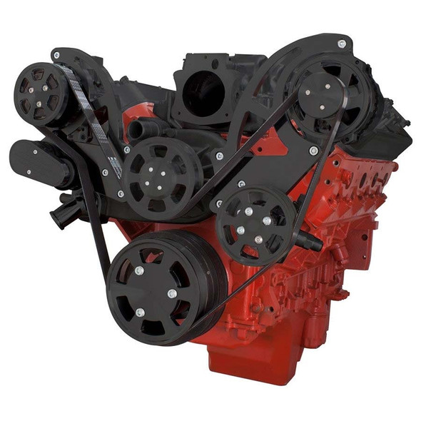 Black Chevy LS Engine Serpentine Kit - AC, Alternator & Power Steering