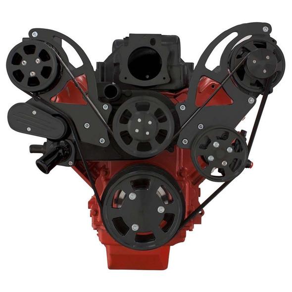 Black Chevy LS Engine Serpentine Kit - AC, Alternator & Power Steering