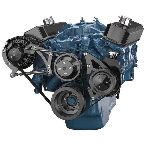 Black Small Block Chrysler Serpentine Conversion, Power Steering