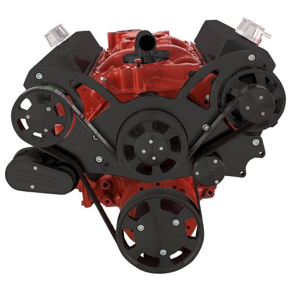 Black Serpentine System for SBC 283-350-400 - Alternator Only