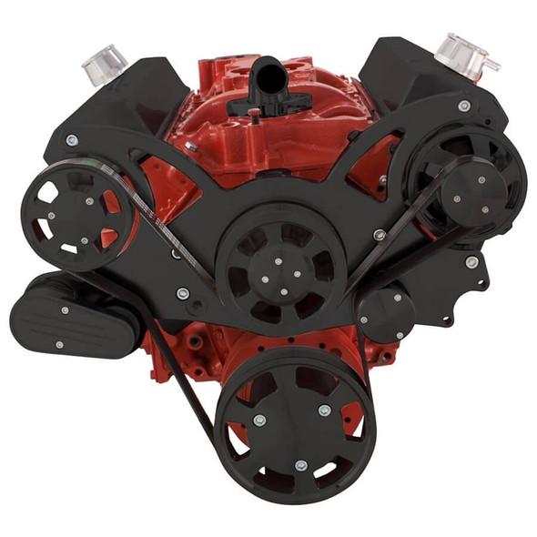 Black Serpentine System for SBC 283-350-400 - Alternator Only