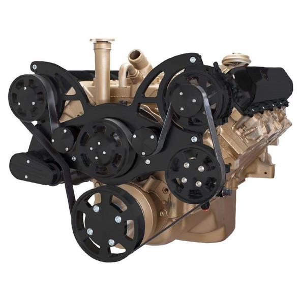 Stealth Black Serpentine System for Oldsmobile 350-455 - Power Steering & Alternator