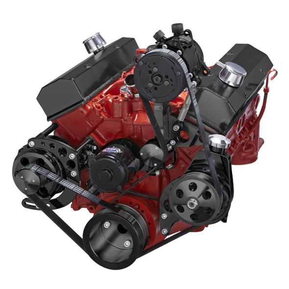 Black Chevy Small Block Serpentine Conversion - AC, Alternator & Power Steering, Electric Water Pump