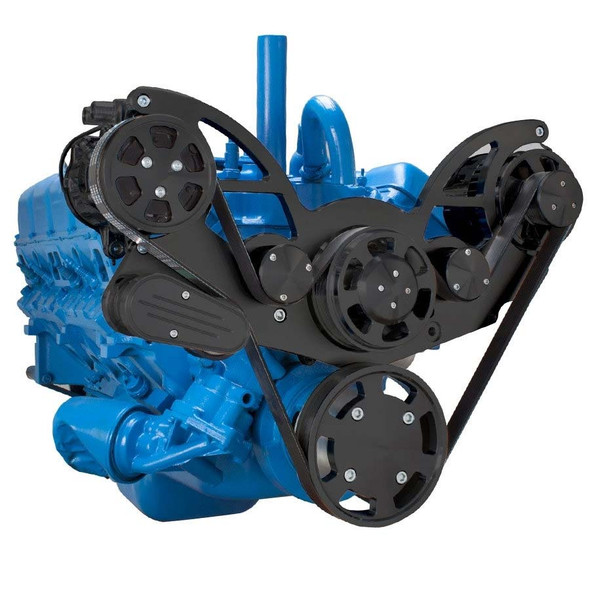 Stealth Black Serpentine System for AMC Jeep 306, 360 & 401 - AC & Alternator