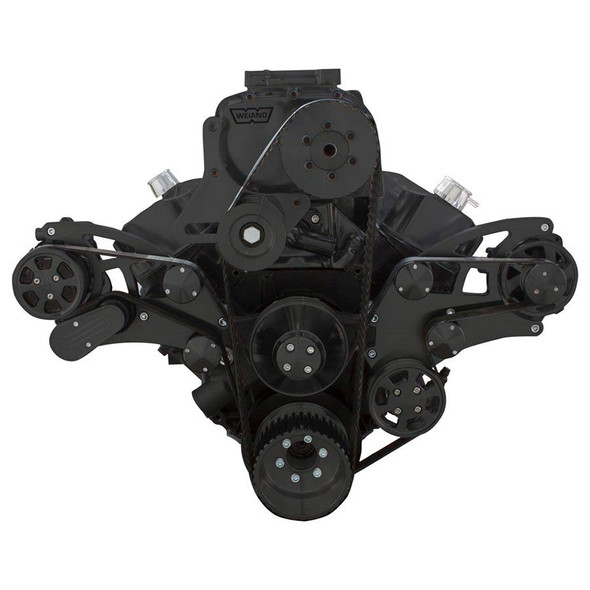 Black Serpentine System for Big Block Chevy Supercharger - AC, Power Steering & Alternator
