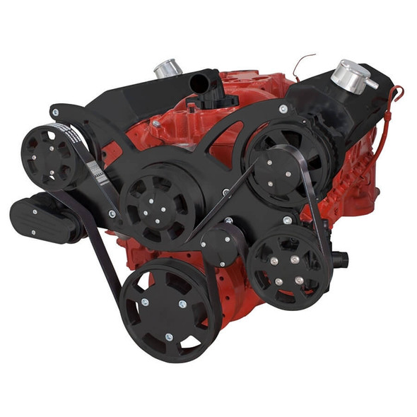 Black Serpentine System for SBC 283-350-400 - Power Steering & Alternator