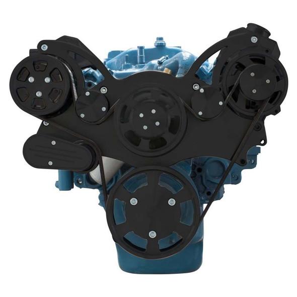 Stealth Black Serpentine System for Small Block Mopar - AC & Alternator