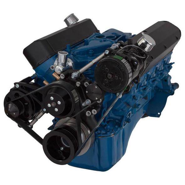 Black Ford 289-302-351W Serpentine Conversion Kit - Alternator & A/C