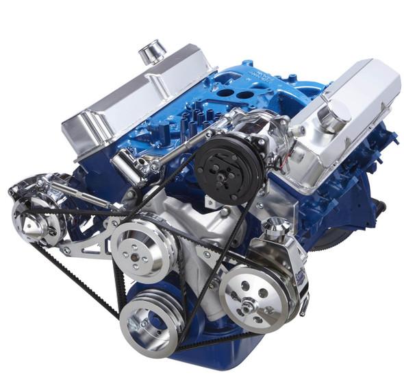 Ford 390 V-Belt System - AC, Alternator & Power Steering - Saginaw Pump