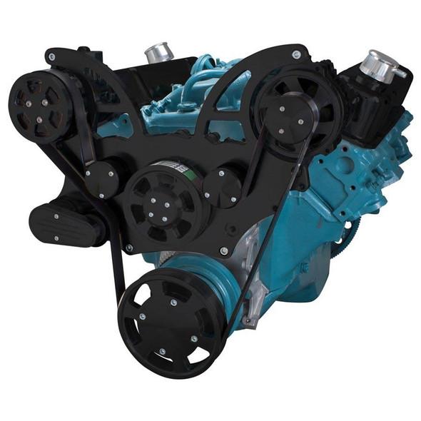 Stealth Black Pontiac Serpentine System for 350-400, 428 & 455 V8 - AC & Alternator