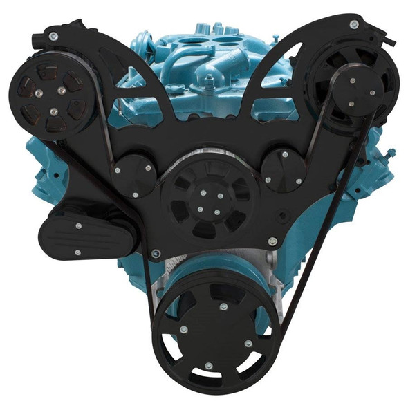 Stealth Black Pontiac Serpentine System for 350-400, 428 & 455 V8 - AC & Alternator